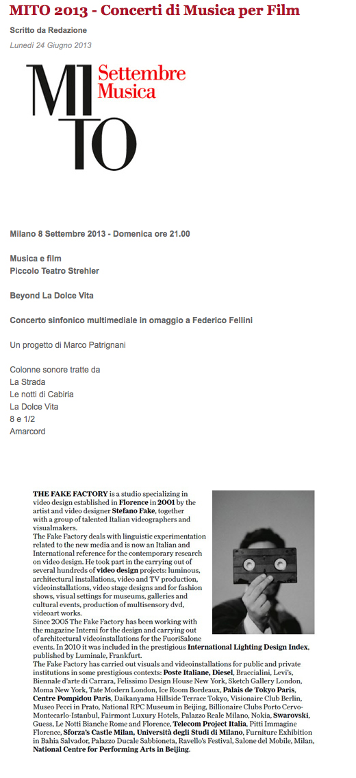 MITO SETTEMBRE MUSICA TEATRO FEDERICO FELLINI